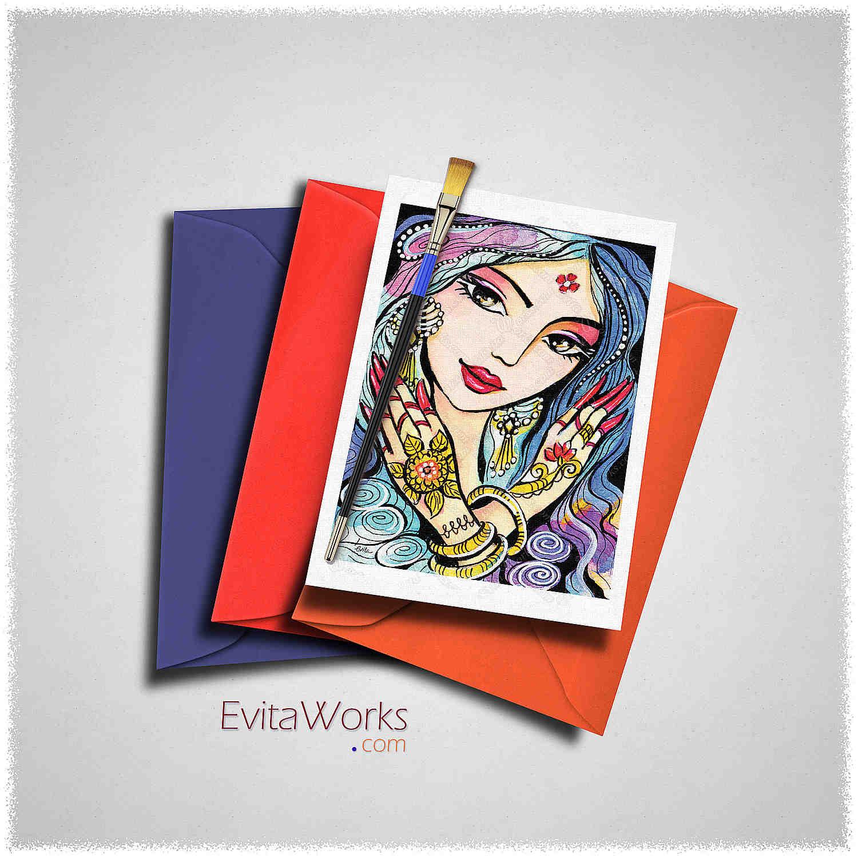 Indian Woman 03 Card ~ EvitaWorks