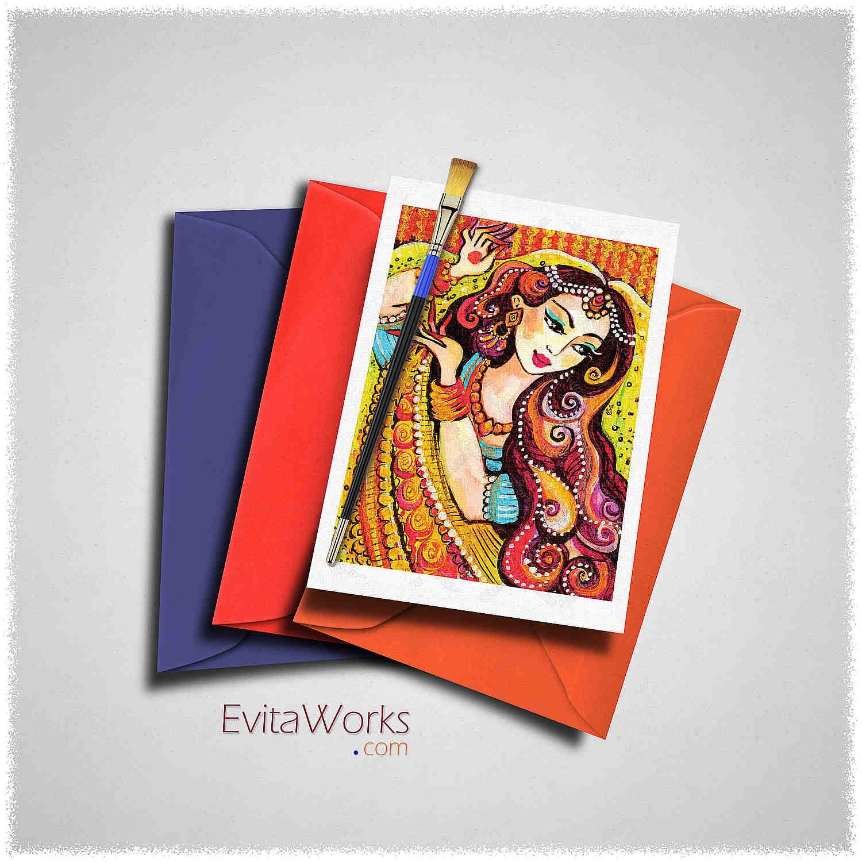 Indian Woman 05 Card ~ EvitaWorks